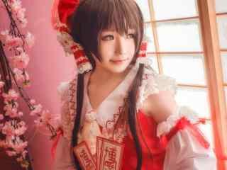 日系美女cosplay东方Project博丽灵梦壁纸图片