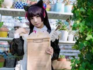萌妹子cosplay五更琉璃黑猫高清桌面壁纸图片