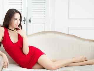 红色连衣裙美女性感写真高清电脑桌面壁纸