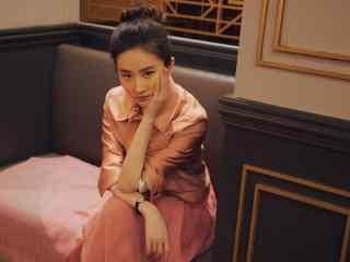 刘亦菲粉色长裙性感写真高清壁纸图片