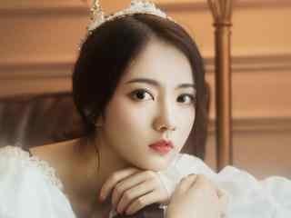高颜值气质美女白色蕾丝裙复古写真高清壁纸