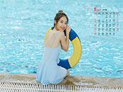 2018年8月日历壁纸可爱泳装美女写真壁纸