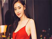 张天爱红丝带吊带裙性感迷人写真壁纸图片