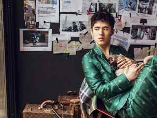 刘昊然绿色西装痞帅写真桌面壁纸