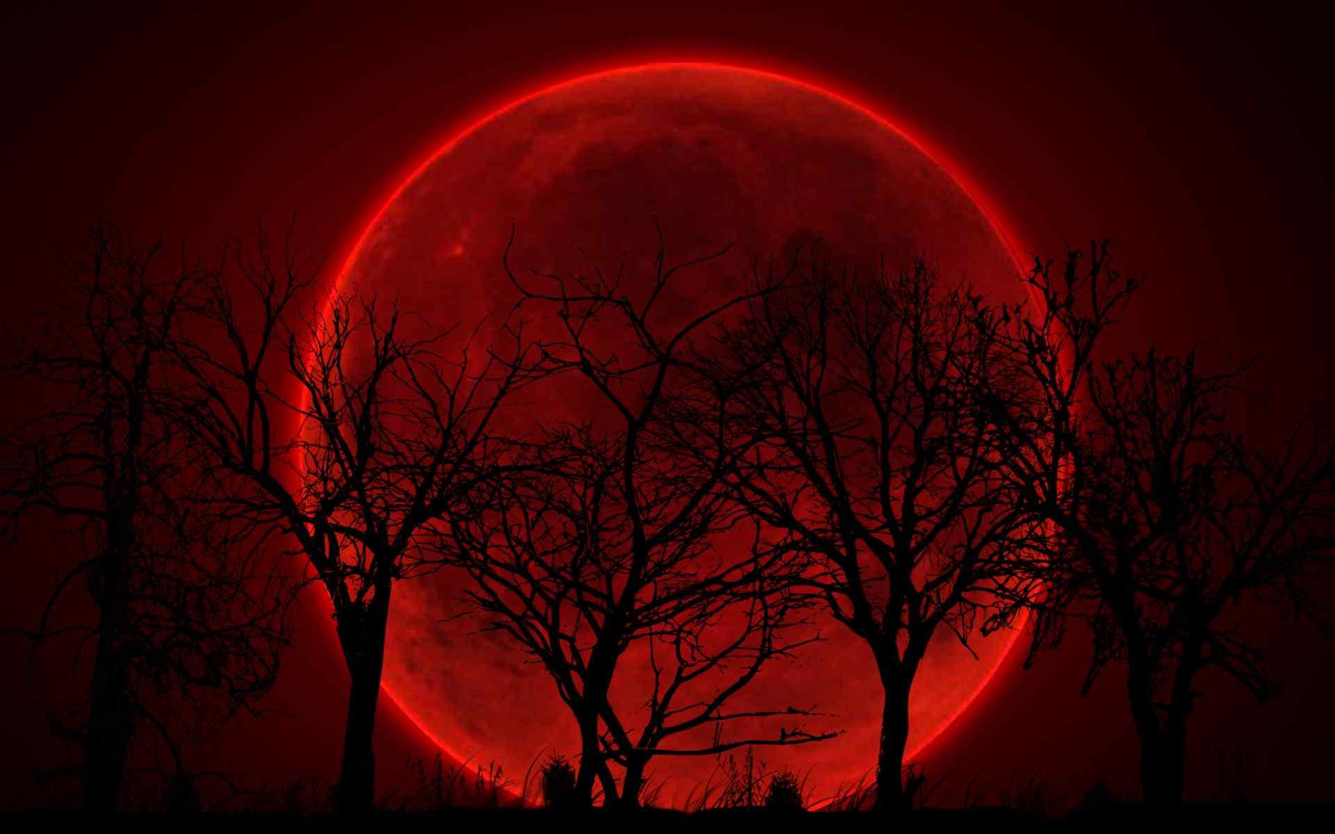 红色的超级月亮图片桌面壁纸