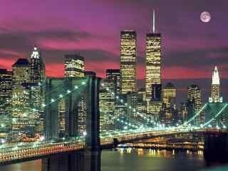 繁华城市夜空中的