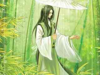 翠竹林中的青衣古风美男桌面壁纸