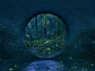 萤火虫飞舞的圆形拱门壁纸图片下载