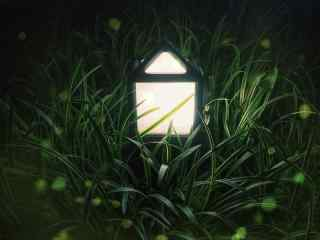 唯美萤火虫和灯盏桌面壁纸