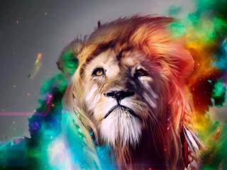 炫彩的手绘狮子桌