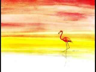 火烈鸟唯美手绘图片桌面壁纸