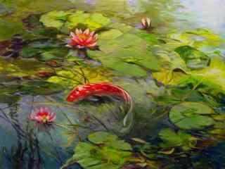 唯美的朱红锦鲤绘画壁纸
