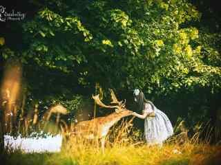 奈良鹿—美女投食给小鹿桌面壁纸