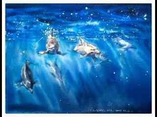 手绘可爱的海豚鱼群桌面壁纸