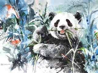 大熊猫动漫手绘画风高清壁纸