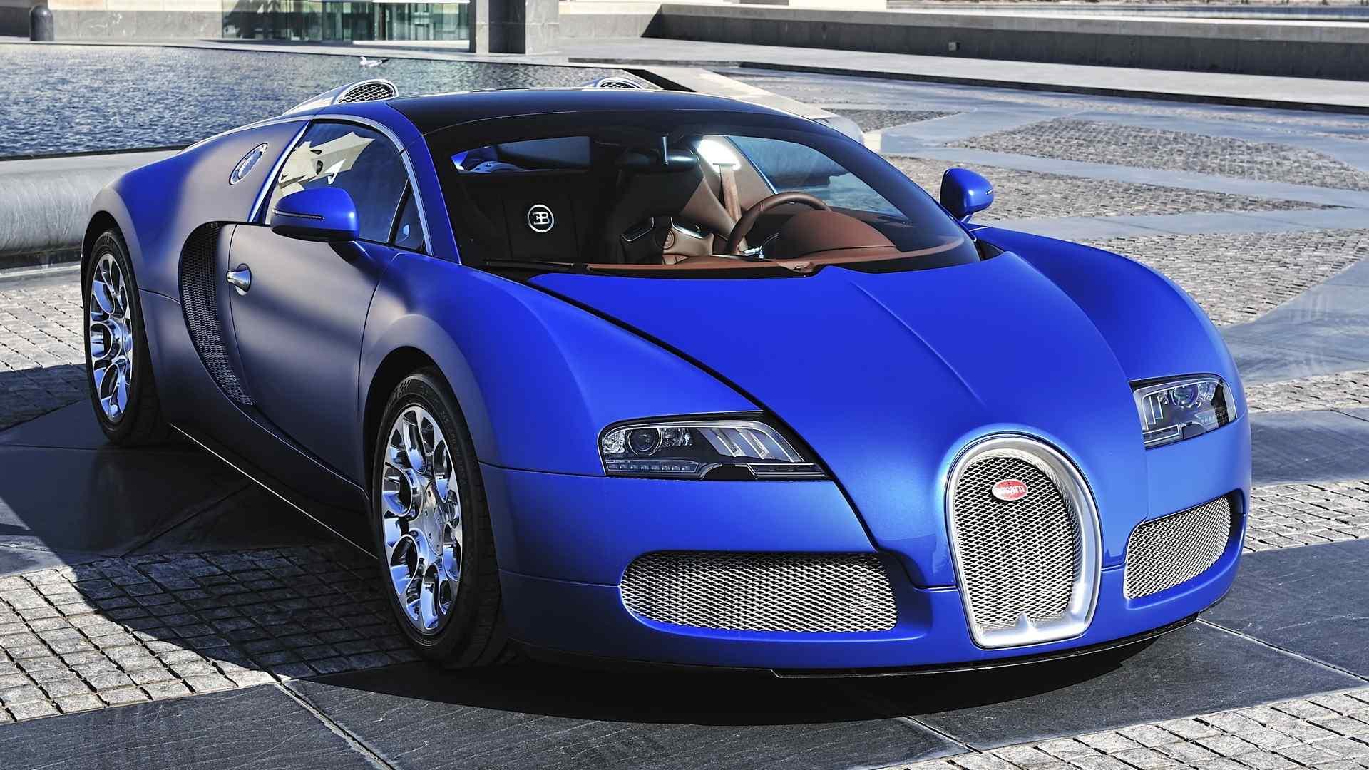 酷炫跑车蓝色布加迪威龙高清图片汽车桌面壁纸