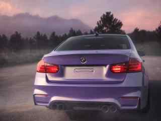 宝马F35车尾亮紫