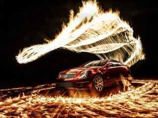 创意火焰与凯迪拉克汽车桌面壁纸