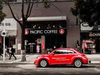 文艺唯美之红色大众汽车壁纸