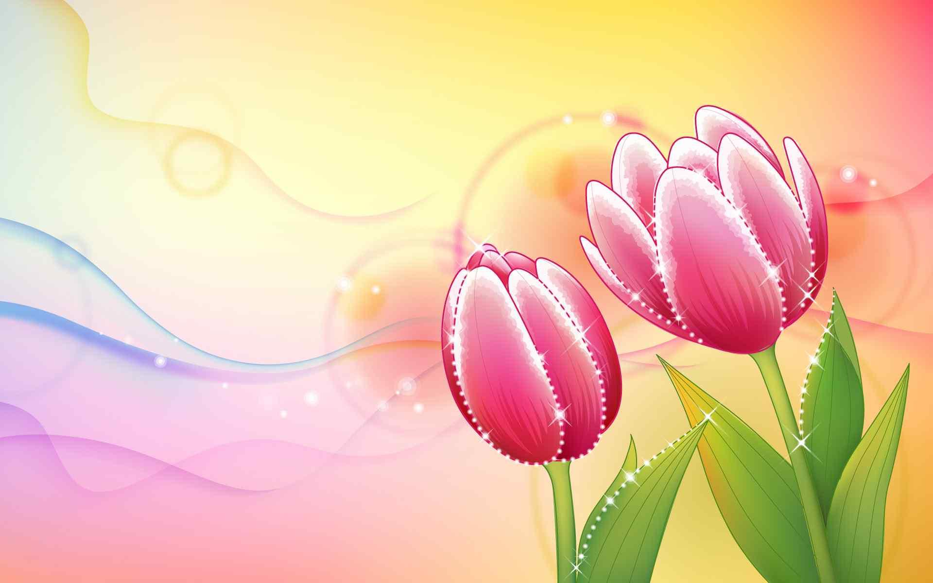 晶莹的鲜花炫彩壁纸