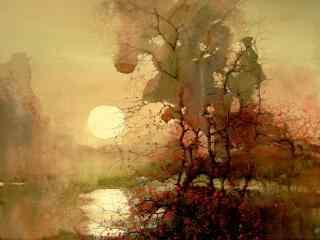 夕山落日水彩画高清壁纸