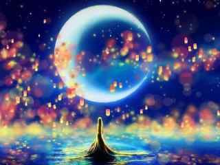 唯美月亮卡通图片