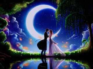 唯美月光下的情侣