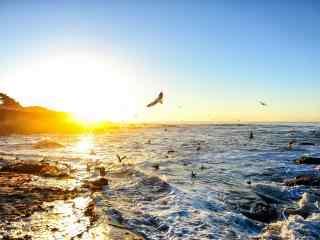 黄昏时大海与天空桌面壁纸