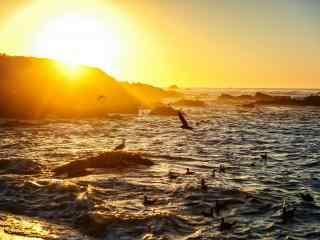 黄昏时大海与天空图片壁纸
