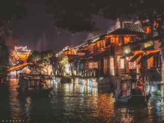 文艺乌镇夜景桌面壁纸