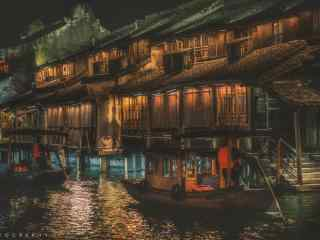 文艺乌镇夜景摄影桌面壁纸