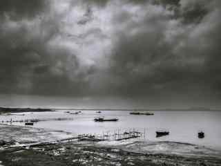 巢湖黑白摄影桌面壁纸