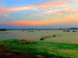 巢湖水彩画风景壁纸