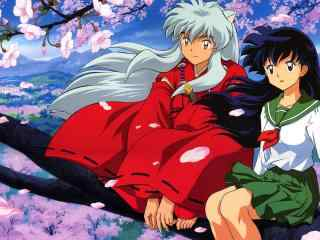 犬夜叉与戈薇一同坐在樱花树上高清壁纸