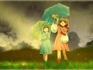 小樱与知世雨天撑伞桌面壁纸
