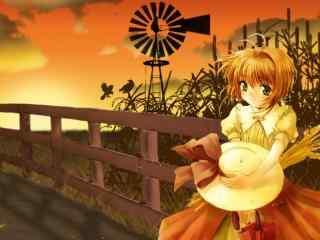 黄昏木桥上的小樱桌面壁纸