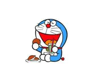 哆啦A梦吃铜锣烧可爱壁纸