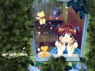 百变小樱之雨天小可与小樱桌面壁纸