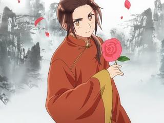 黑塔利亚之王耀手拿红玫瑰山水画壁纸