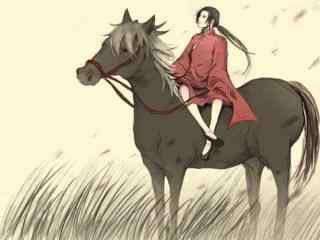 黑塔利亚之王耀骑马望天桌面壁纸