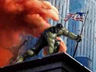 绿巨人手举国旗桌面壁纸