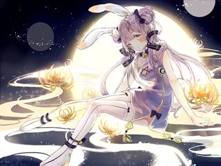 Vocaloid初音ミク(初音未来)中秋白兔桌面壁纸
