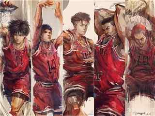 灌篮高手主力队员投篮瞬间同人图片桌面壁纸