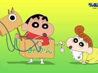 动漫蜡笔小新双叶社官方壁纸小新和妹妹玩木马桌面壁纸