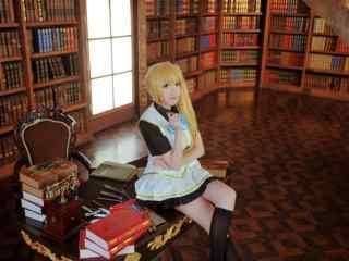 无彩限的怪灵世界 图书馆川神舞精美cos桌面壁纸