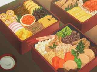 动漫美食图片豪华便当二次元美食图片桌面壁纸