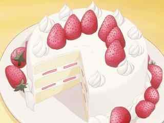 动漫美食二次元草莓奶油蛋糕图片桌面壁纸