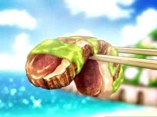 动漫美食图片食戟之灵二次元美味烤肉图片桌面壁纸