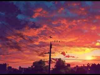 夕阳下的火烧云 唯美动漫背景