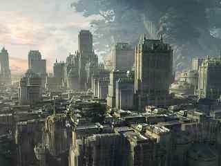 世界树下的城市 唯美动漫背景